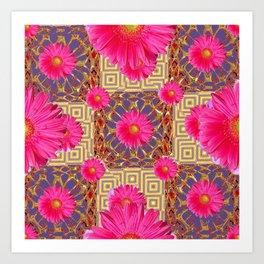 Fuchsia Gerbera Flowers & Grey Patterns Art Print
