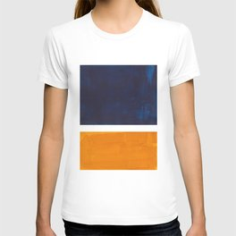Navy Blue Yellow Ochre Abstract Minimalist Rothko Colorful Mid Century Color Block Pattern T-shirt