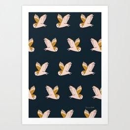 Barn Owls Flight Art Print
