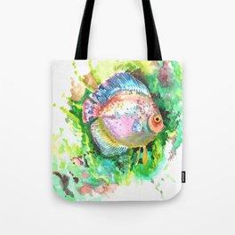 Aquarium Fish, Discus, Pink Green Illustration Tote Bag