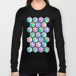 Christmas Gift Hexagons Long Sleeve T-shirt