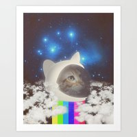 space cat Art Prints featuring Space Cat by omgcatz