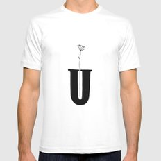 — U — SMALL White Mens Fitted Tee