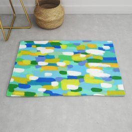 Meet Me In The Woods - green blue abstract painting white mint green brush lines pattern Rug