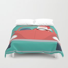 Santa Claus coming to you on his Car Sleigh Duvet Cover