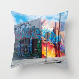 Tattooed Walls form Wynwood Miami Grafitti 2 Throw Pillow