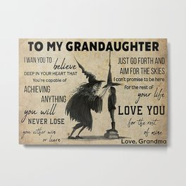 Black Hat Black Hat Witch To My Grandaughter Metal Print