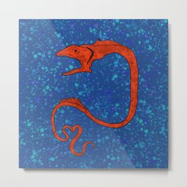 Deep sea fish gulper eel in blue Metal Print