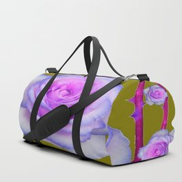 PINK-BLUE TINGED ROSES ON KHAKI COLOR Duffle Bag