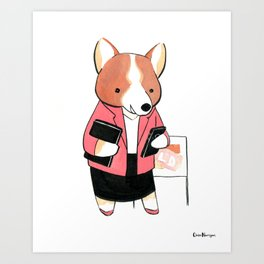 Corgi Realtor (Dogs with Jobs series) Art Print