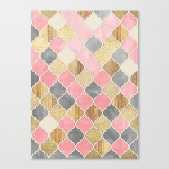 Silver Grey, Soft Pink, Wood & Gold Moroccan Pattern Canvas Print