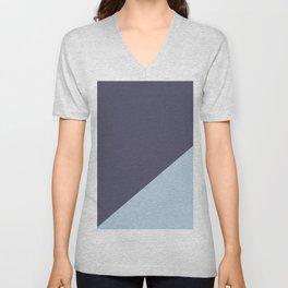 Purple Blue & Light Blue - oblique Unisex V-Neck