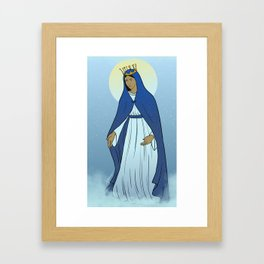 Virgin Mary with Crown and Blue Mantle Framed Art Print