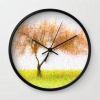 tree of life Wall Clocks featuring Life Tree by Joao Bizarro