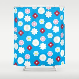 Petals in Blue Shower Curtain