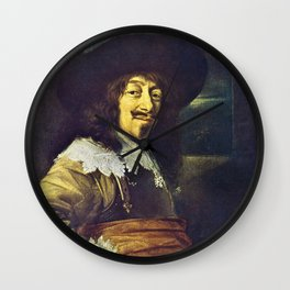 Portrait of an Officer by Frans Hals Wall Clock