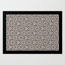 Achromatic StarFlower Pattern Art Print
