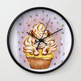 Lemon Meringue Cat Cupcake Wall Clock