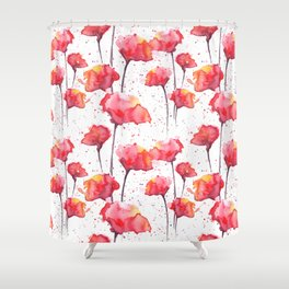 Red Poppies Pattern Shower Curtain