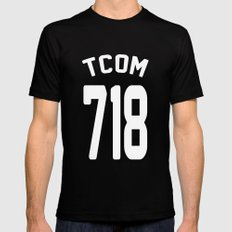 TCOM 718 AREA CODE JERSEY MEDIUM Black Mens Fitted Tee
