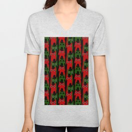 Christmas Cats and Mittens (Red and Green) Unisex V-Neck