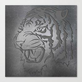 Metal Engraved Tiger Line art Canvas Print