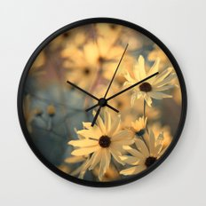 Autumn Botanical Muted Sunflowers Wall Clock
