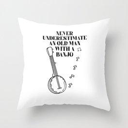 Banjo Guitar Player Guitar Plectrum Music Vintage Throw Pillow