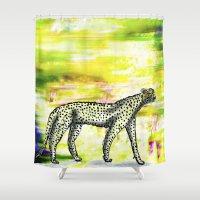 cheetah Shower Curtains featuring CHEETAH by Isabel Sobregrau