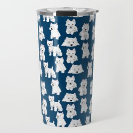 Westies on Blue Travel Mug
