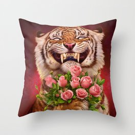 Smiling (shy) Tiger - holding bouquet (rose) Throw Pillow