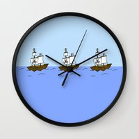 pirate ship Wall Clocks featuring Pirate Ship by Isobel Woodcock Illustration