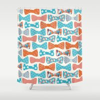 bows Shower Curtains featuring Geometric Bows by Wild Notions