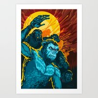 planet of the apes Art Prints featuring Dawn Of The Planet Of The Apes by KD Artwork
