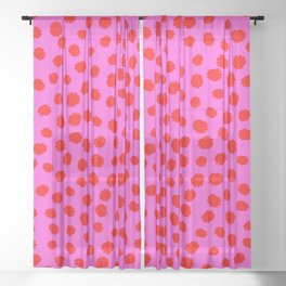 Keep me Wild Animal Print - Pink with Red Spots Sheer Curtain