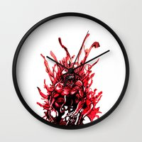 carnage Wall Clocks featuring Carnage watercolor by Noel Castillo