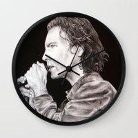 eddie vedder Wall Clocks featuring Eddie Vedder - Pearl Jam by whiterabbitart