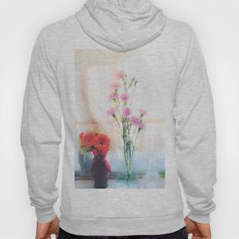 pink flower and orange flower in the vase with curtain background Hoody