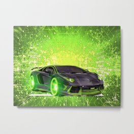 Tronic Green Sports Car Metal Print