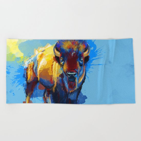 On the Plains - Bison painting Beach Towel