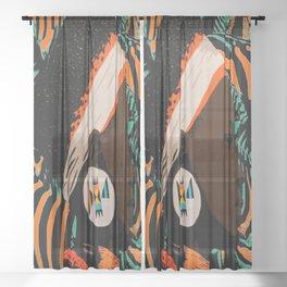 Zulu girl with zebraprint Sheer Curtain