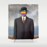 magritte Shower Curtains featuring Son of Apple Parody René Magritte by eatpersonality