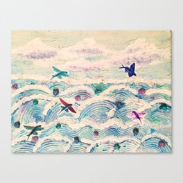Flying fish in abstract sea Canvas Print