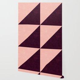 Modern blush pink burgundy watercolor color block geometric Wallpaper