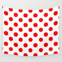 polkadot Wall Tapestries featuring Polka Dots (Red/White) by 10813 Apparel