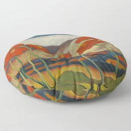 Spring Mountain Snows with Red Poppies & Calla Lilies by Blue River landscape by Zolote Palugyay Floor Pillow