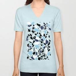 Terrazzo Spot Blues on Blush Unisex V-Neck