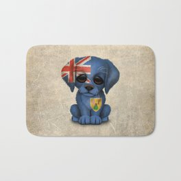 Cute Puppy Dog with flag of Turks and Caicos Bath Mat