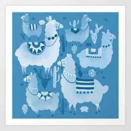 Alpacas and cacti Art Print
