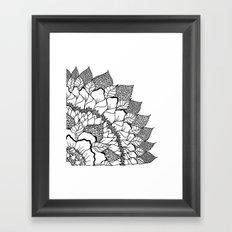 Modern handdrawn floral mandala black white pattern Framed Art Print
